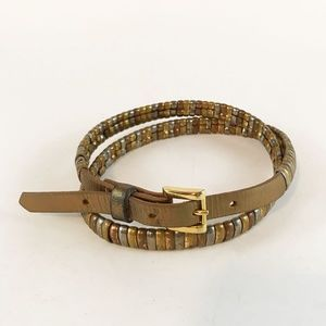 Vintage Leather & Metal Thin Belt